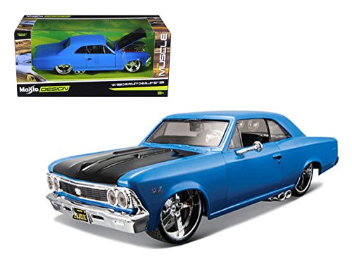 """1966 Chevrolet Chevelle SS 396 Blue """"Classic Muscle"""" 1/24 Model Car by Maisto"""