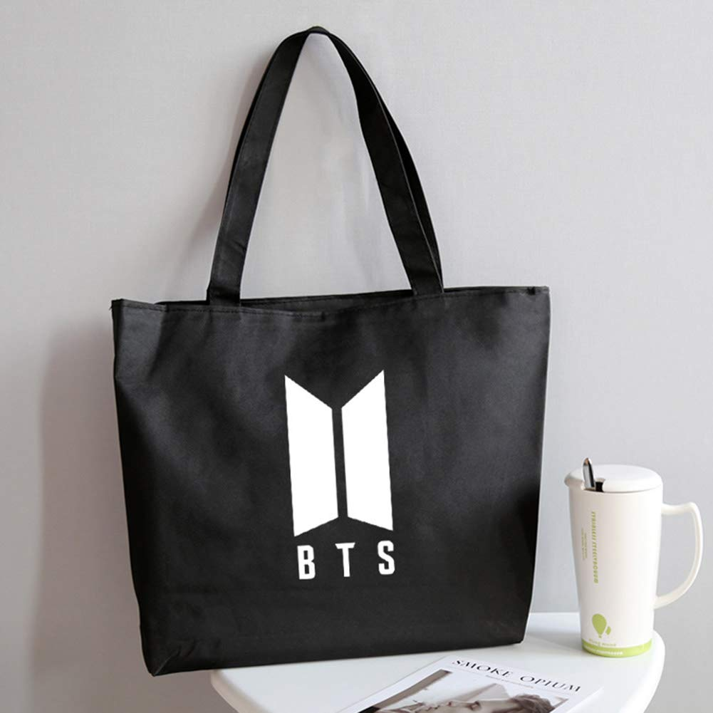 9a785be5d2972d Amazon.com: Youyouchard KPOP BTS Bangtan Boys TWICE Heavy Duty Canvas Tote  Bags with Zipper Top and Zipper Inside Pockets(BTS logo-1): Kitchen & Dining