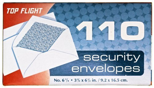 Top Flight Boxed Security Envelopes, 3.75 x x x 6.625 Inches, Weiß with Security Lining, 110 Envelopes per Box (6900537) by Top Flight Inc. 87fb54
