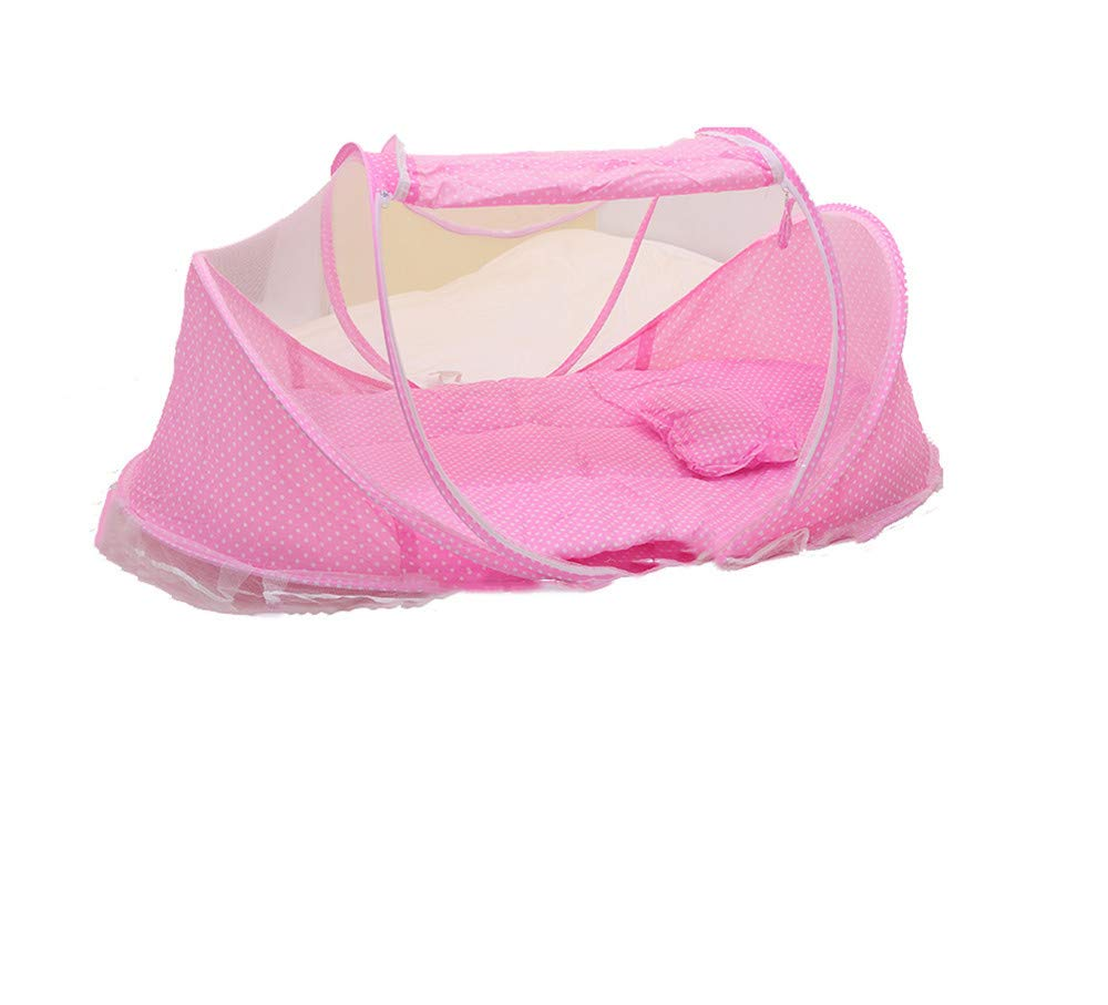 Crib Mosquito net/Indoor/Insect-Proof Mosquito Cover / / Children's Outdoor Sunscreen Tent Portable/Four Seasons Travel, Pink, 110 60 65cm