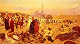 ROSATI GIULO AN ARABIAN MARKET ARTIST PAINTING REPRODUCTION HANDMADE OIL CANVAS 26x48inch MUSEUM QUALITY