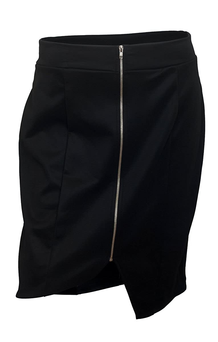 eVogues Plus Size Zipper Front Mini Skirt Black S20160325A_BLK-0001