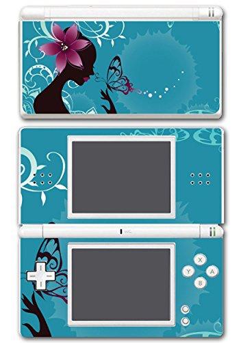 Nintendo Ds Vinyl Skin - Beautiful Woman Butterfly Flower Art Video Game Vinyl Decal Skin Sticker Cover for Nintendo DS Lite System