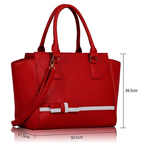 Women Satchel Crossbody Red Detail Zarla Ladies Bow Tote Grab Shoulder Leather With Faux Handbag Tie S0gn1Hqw