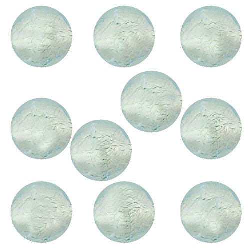 Pale Aqua Round 6mm White Gold Foil Murano Glass Bead .925 Silver Foil, 10 Pieces