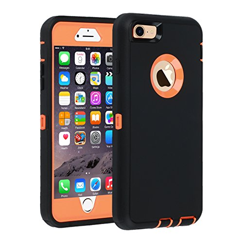 iPhone 6s Plus/6 Plus Case 5.5 inch,HEAVY DUTY Armor 3 in 1 Built-in Screen Protector Rugged Cover Dust-Proof Shockproof Drop-Proof Scratch-resistant Anti-slip Shell for iPhone 6+/6s+,Black/Orange