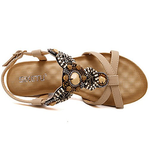 High Buckle Beads Footbed Cushioned Zarbrina Sandals Wear Adjustable Womens Platform Bohemian apricot up Wedge xyRq8Ag