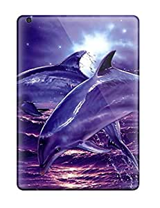 Hot 3400315K16447524 Ipad Air Hard Back With Bumper Silicone Gel Tpu Case Cover Dolphins