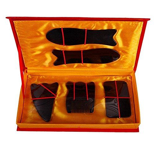 5Pcs Chinese Traditional Gua Sha Acupuncture Massage Natural Tool Set Guasha