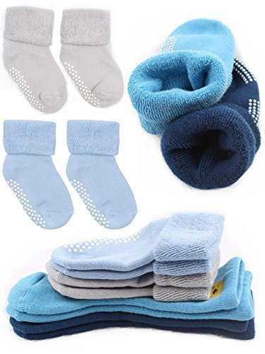 Pro1rise 4 Pairs Baby Boys Non Skid Cuff Socks Thick Cozy Ankle Cotton Footsocks Sneakers With Grips For 12-36 Months Toddler (Turn Cuffs Non Skid)