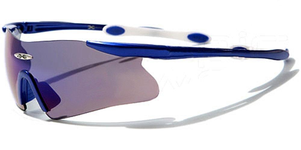 X-Loop Sonnenbrillen - Sport - Radfahren - Skifahren - Laufen - Driving - Motorradfahrer / Mod. 3555 Blau Weiß Blau Spectral / One Size Adult / 100% UV400 Schutz