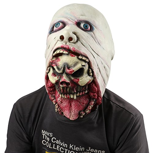 Scary Evil Clown Mask,Double Face Latex Rubber Mask,Halloween Costume Party Mask for Masquerade/Birthday Parties,Carnival (Scary Halloween Face)