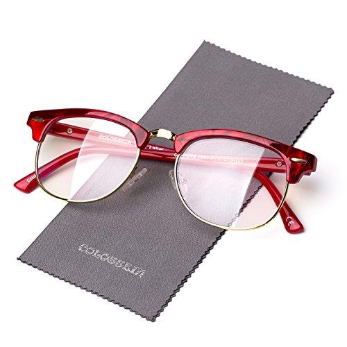 Classic Half Frame Clear Glasses, Unisex Fashion Eyewear For Anti-blue Rays