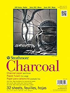 """Strathmore 330-18 300 Series Charcoal Pad, White, 18""""x24"""" Wire Bound, 24 Sheets"""