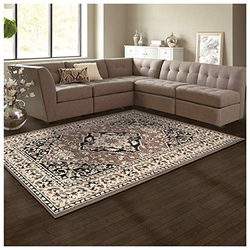Superior Elegant Glendale Collection Area Rug, 8mm Pile Height with Jute Backing, Traditional Oriental Rug Design, Anti-Static, Water-Repellent Rugs - Brown, 8' x 10' Rug ()