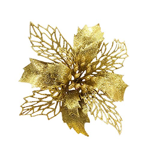 Christmas Poinsettias - Gold New Glitter Artificial Wedding Christmas Flowers Glitter Poinsettia Christmas Tree Ornaments Pack of 12 (Gold)