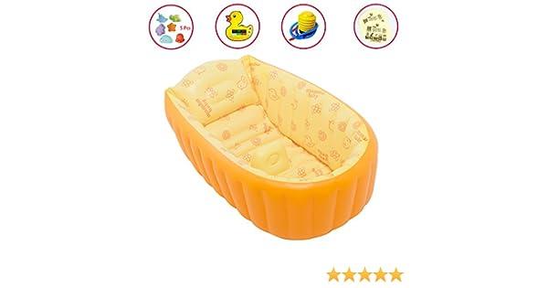 APig Bañera Espesada Hinchable para Bebés Piscina Flotador Inflable para Niños de 0-3 Años, 90x45x28 cm (Naranja)