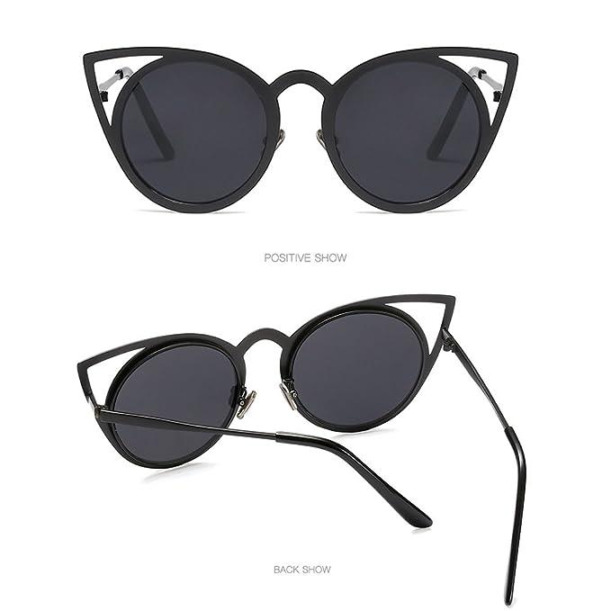 Zhhlaixing Moda Donne Vintage Retro Cerchio Rotondo Womens Sunglasses Cornice Metallica Orecchie di Occhi di Gatto Protezione UV400 Occhiali da Sole qoB7cw9