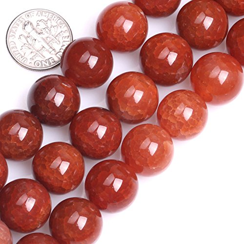 GEM-inside Crackle Red Agate Gemstone Loose Beads 14mm Round Faceted Agate Bead For Jewelry Making 15 Inches ()