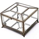 Tuweep Mirrored Hexagonal Home Decorative Box Vintage Glass Jewelry Box Clear Display