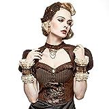 Lolita Women Coffee Glove Fancy Lace Leather Cuff Glove Ployester Wrist Glove Steampunk Accessories