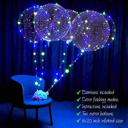 lightsfever LED Balloons with Batteries Included-Light up Bobo Party Clear Balloons, DIY kit 6pc with Extra Flashing Modes]()