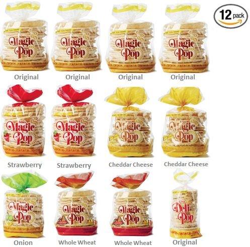 Kims Magic Pop Freshly Popped Rice Cake Combo B 12 Pack   Keto, Vegan   Low Carb, Sugar Free, Fat Free, Natural, Multigrain Korean Snack   Easy Bread, Chip, Cracker Replacement