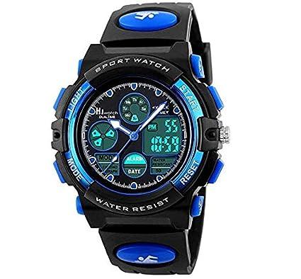 6199378cf0bc Hiwatch Relojes Deportivos Impermeable para los Niños Reloj de Pulsera  Digital a Prueba de Agua Azul