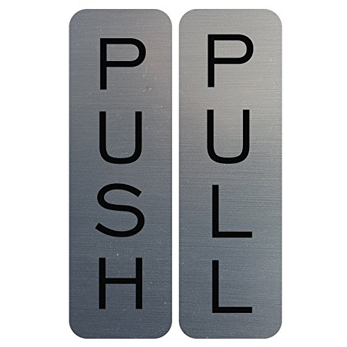 Wholesale Basic Vertical Push Pull Door Sign (Brushed Silver) - Small free shipping