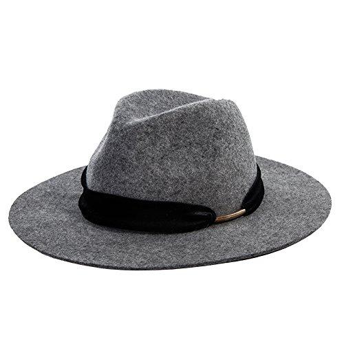 Siggi Woman 100% Wool Felt Top Hat Wide Brim Winter Fedora Hats for Women Grey