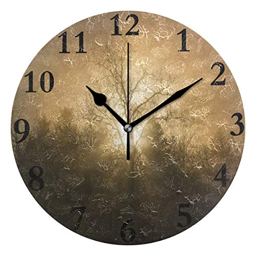 (NMCEO Round Wall Clock Sunset Trees Mist Silhouette Acrylic Original Clock for Home Decor Creative)