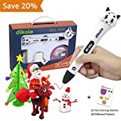 3D Pen - Dikale 05A【Newest Design】3D Drawing Printing Printer Pen Bonus 250 Stencils eBooks for Kids Adults Arts Crafts Model DIY, Non-Clogging
