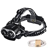 GR 2 X T6 LED Outdoor Camping Lights Rechargeable Zoom Headlamp Headlight Torch USB Charging Waterproof Professional (1PCS)