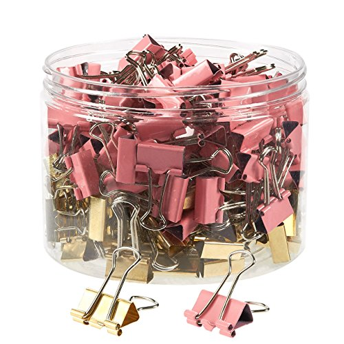 Desk Set Binder - Binder Clips - Pack of 200 Paper Clamps, Includes 100 Gold and 100 Pink Foldback Clips, for Office Documents, Archive Work, Document Organizing, 0.75 x 1.5 inches