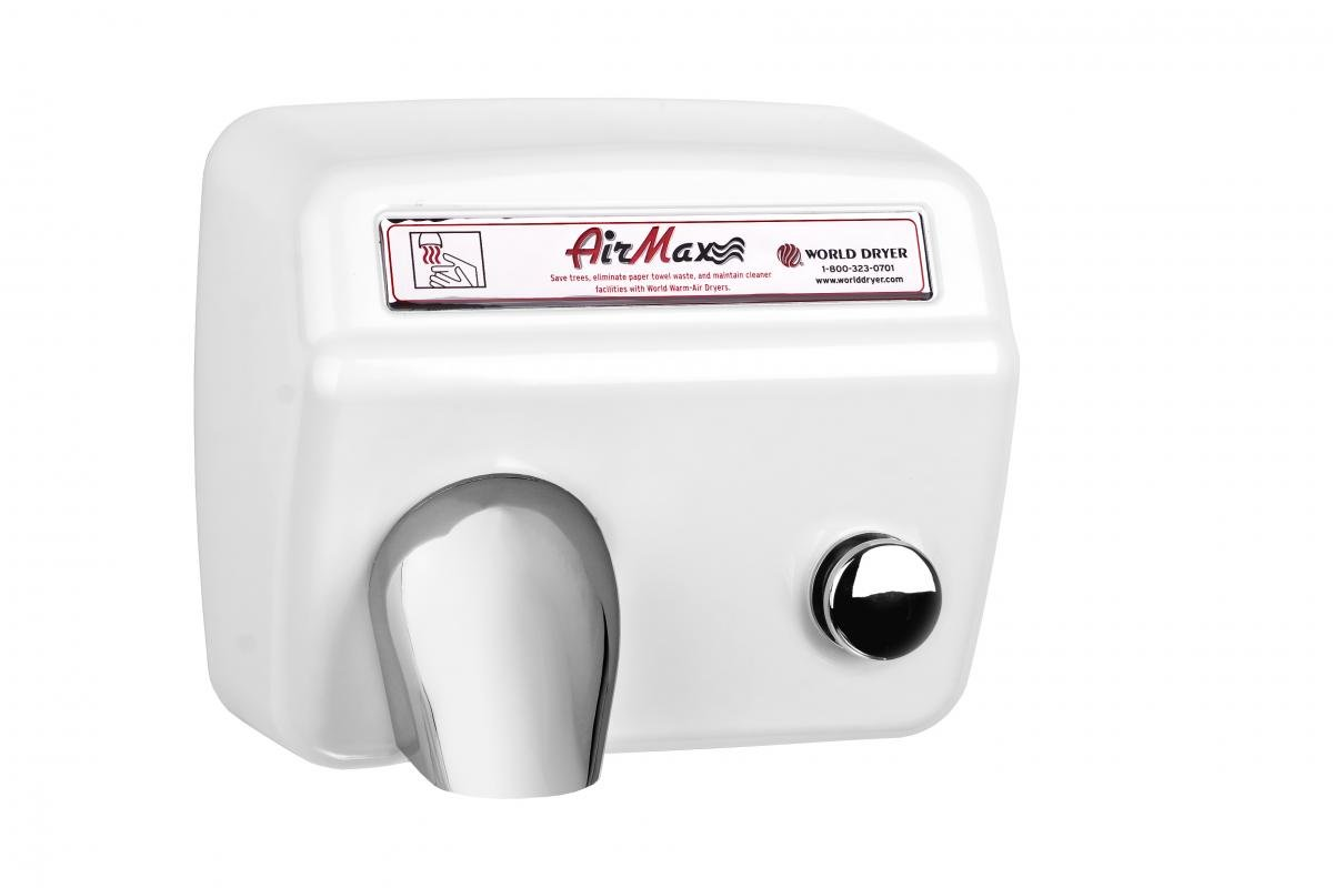 World Dryer DM5-974 AirMax High Speed and Heavy Duty Hand Dryers, Push-Button, 110-120V, Steel White