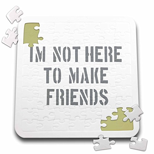 3dRose Uta Naumann Sayings and Typography - Im Not There To Make Friends-Funny Motivation Typography on White - 10x10 Inch Puzzle (pzl_272831_2)