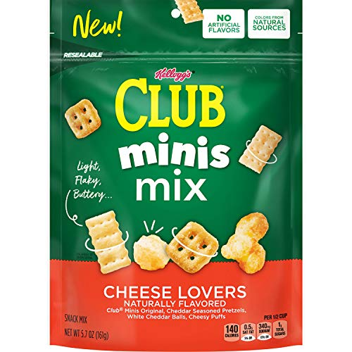 Kellogg's Club Minis Mix, Snack Mix, Cheese Lovers, 5.7oz Bag(Pack of 6)