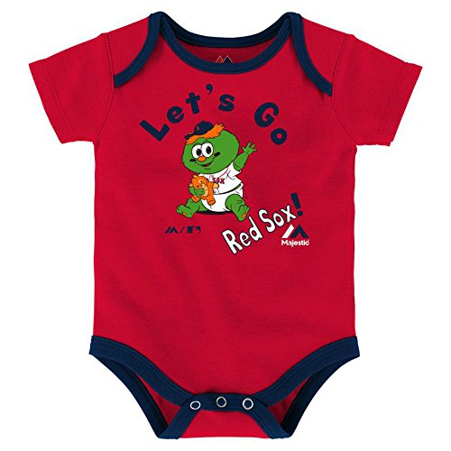 (Boston Red Sox Wally Let's Go Red Sox Infant Onesie Size 12 Months Bodysuit Creeper Red)