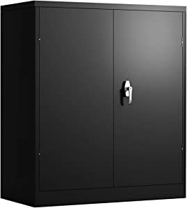 HOMEER Storage Cabinet Counter Height Metal Locking Cabinet with 2 Adjustable Shelves (Black)