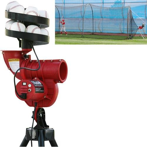 (Heater Sports™ Slider Curve LITE-Ball Machine w/Bonus Feeder & 24' X 12' X 12' Batting CAGE)
