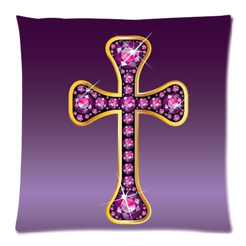 Artsadd Home Decor Personalized Stunning Christian Cross with Garnet Picture Zippered Throw Pillow Cover Cushion Case 20x20 (two sides) ()