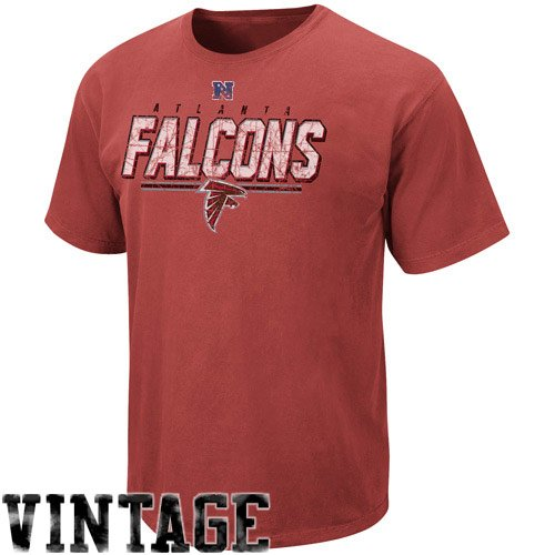Nfl Atlanta Falcons Pigment Dyed Vintage Roster Ii T Shirt   Red  X Large