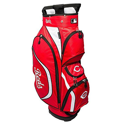 Team Golf MLB Cincinnati Reds Clubhouse Golf Cart Bag, Lightweight, 8-Way Top with Integrated Handle, 6 Zippered Pockets, Padded Strap, Towel Ring, Umbrella Holder & Removable Rain - Cincinnati Light Reds