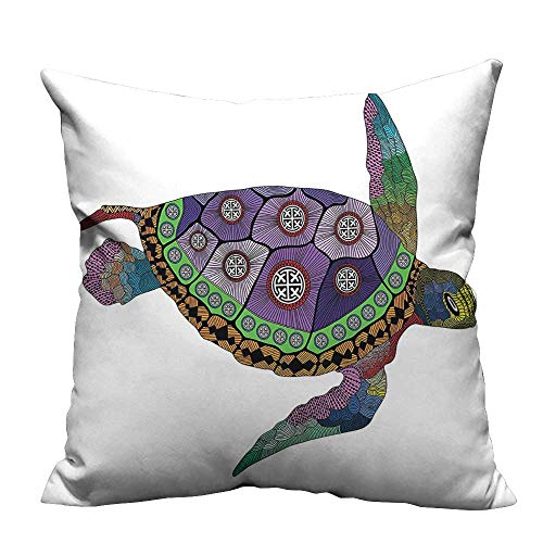 YouXianHome Decorative Throw Pillow Case Turtle Colorful Ornamental Tattoos Animal Work Purple Orange Pink Ideal Decoration(Double-Sided Printing) 13.5x19 inch