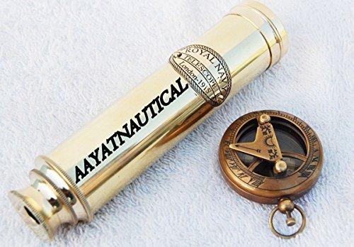 BRASS TELESCOPE MARINE NAUTICAL ANTIQUE BRASS SPYGLASS SCOPE SUNDIAL COMPASS SET from AAYAT NAUTICAL