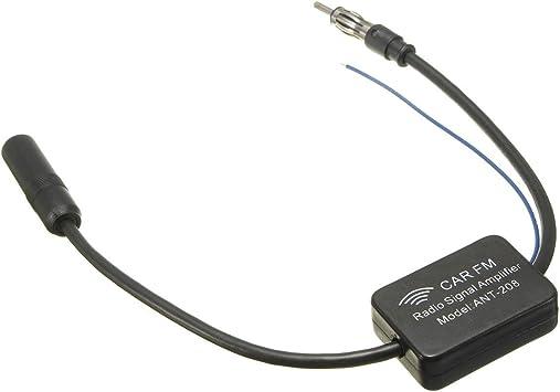 Amplificador de radio de antena de coche - TOOGOO(R) Amplificador de senal de radio AM y FM de antena de coche de 48-860MHz