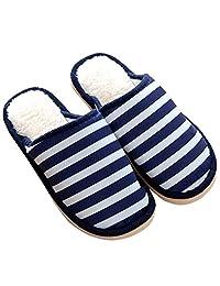 Gracefulvara Couple Men Women Striped Winter Warm Slippers Indoor Non-slip Home Shoes