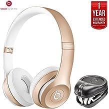 Beats By Dre Solo2 Wireless On-Ear Headphones MKLD2ZM/A (Gold) (Certified Refurbished) + HardBody PRO Full Sized Headphone Case with 1 Year Extended Warranty