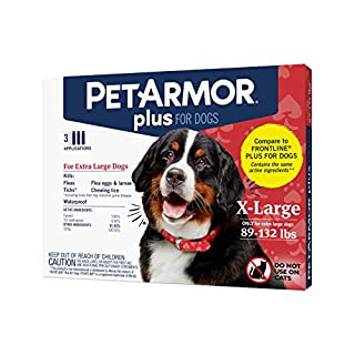 PETARMOR Plus for Dogs Flea and Tick Prevention for Dogs, Long-Lasting & Fast-Acting Topical Dog Flea Treatment, 3 Count, PetArmor Plus Flea & Tick Prevention for Extra Large Dogs with Fipronil (88 to 132 Pounds), 3 Monthly Treatments