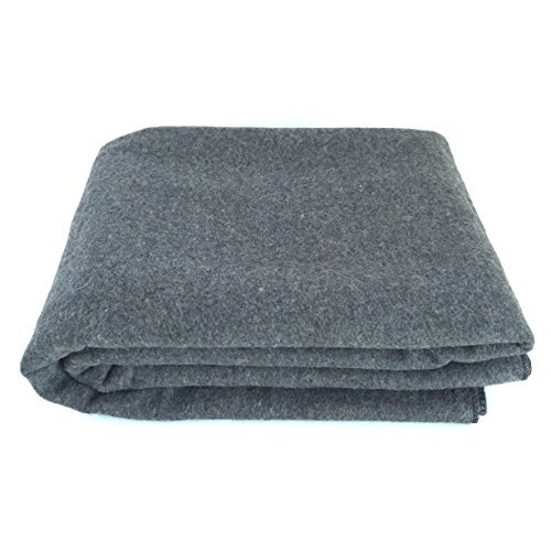 EKTOS 90% Wool Blanket, Grey, Warm & Heavy 4.4 lbs, Large Washable 66